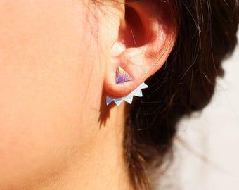 Triangle earrings - ear cuff - up and dowm - ear jackets - stud earrings - holographic leather earrings - ear studs - trending jewel -