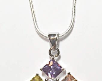 Multi Colored Crystal Pendant Necklace On Sale