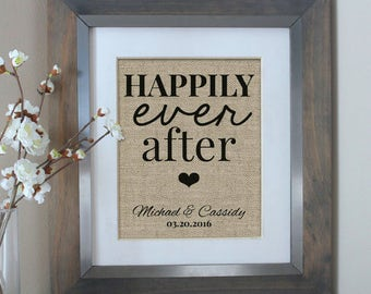 Bridal Shower Gift, Personalized Wedding Gift, Happily Ever After Burlap Print, Personalized Wedding Gift for Couple, Wedding Sign