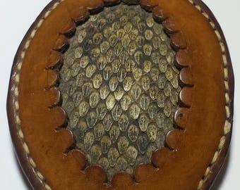 Vintage Handmade Leather and Snake Skin Belt Buckle