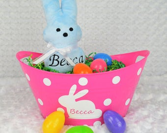 Pink Personalized Easter Bucket - Easter Gift - Personalized Gift - Easter Bunny