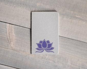 Moleskine Cahier notebook, Pocket journal, Yoga gift, Coworker gift, Gray and purple lotus journal
