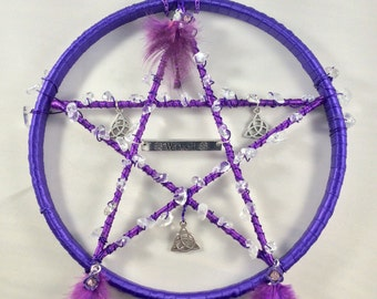 Pentagram, Suncatcher, Wall hanging, Spirituality, Metaphysical, Religion, Quartz, Window, Clear Quartz, Pentacle,  Pagan, Witch, Wicca,