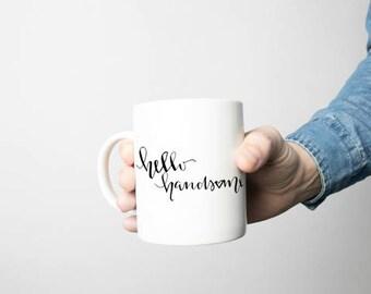 Hello handsome mug, hello handsome, sublimated mug, handmade mug, doshwashwer safe, gift!