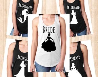 Disney Princess Bachelorette/Bridal party shirts!! (FITTED TANKS)