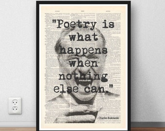 "Charles Bukowski quote - ""Poetry is what happens when nothing else can"" motivation poetry quote"