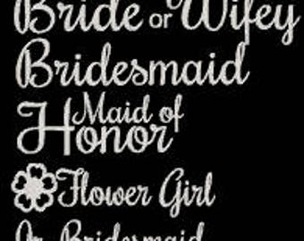 Glitter Bridal party heat transfers, Wifey iron on, Bridesmaid, Wedding party heat transfers, bachelorette party