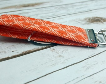 Orange and White Quilted Key Fob/Key Chain