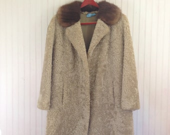 Beige A-Line Cut Persian Lamb Fur Coat Fits up to Womens Plus 16 18 1x 2x