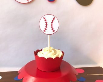 Baseball Cupcake Toppers - baseball party - party supplies