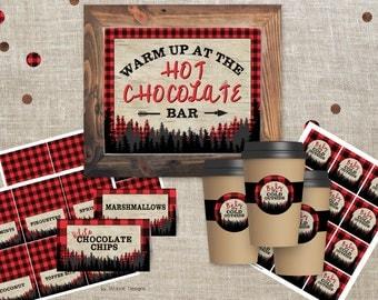 Hot Chocolate Bar sign 8x10, Lumberjack Birthday Decorations, Table Tents, Cup Tags, Lumberjack Hot Chocolate Bar, Lumberjack party sign