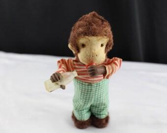 Vintage Alps Thursty Monkey Toy Monkey 1940's Windup Green Pants