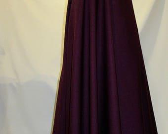 Burgundy Poly Wool Cloak Maroon Full Circle Cloak Cape~~Hooded Cloak~Medieval Cloak Wool~Halloween Cloak Jedi Robes Custom make@sohoskirts