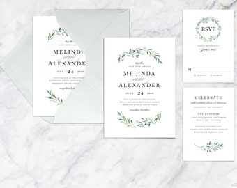 Printable Wedding Invitation Set, Simple Modern Invitation Set, Minimalist Green Leaves Fern Foliage Wedding Invitation