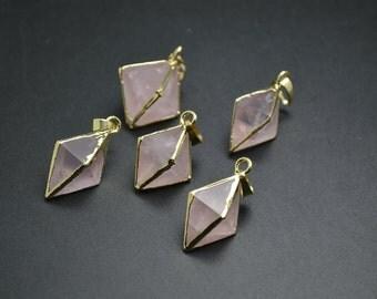 1pc Gold plating Natural Rose Quartz Rhombus Pyramid Stone Pendant DIY Necklace making materials