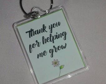 Teachers Keyring Gift, Thank You Teacher Present, Small Teacher Gifts, Key chain, A Star Teacher, Thank You for Helping Me Grow, Number 1