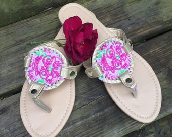 Personalized Monogrammed Women's disc sandals, Personalized Monogrammed flip flops, Summer Sandals, rose sandals, coral reef, Lily sandal