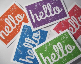 Hello notecards, blank notecards, notecard set, A2 note cards