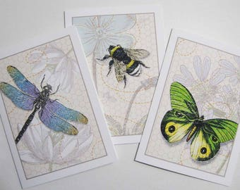 Insect notecards, dragonfly notecards, bumblebee notecards, butterfly notecards, blank note cards, note card set, A2 note cards