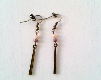 Earrings cubic and pearls faceted parma and old rose // Gift for her