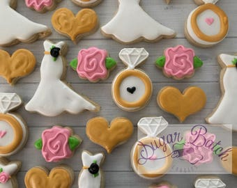 2 Dozen Mini Floral Bridal Decorated Cookies Set