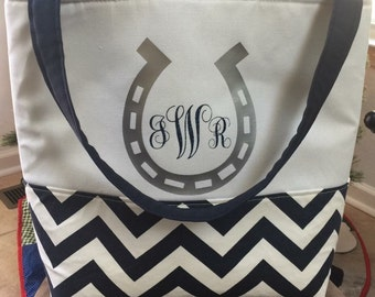 Lined Monogrammed Tote Bag - Horse Tote Bag - Horse Riding Bag- Personalized Horse Bag- Horse Shoe - Custom Tote Bag - Monogram Tote Bag