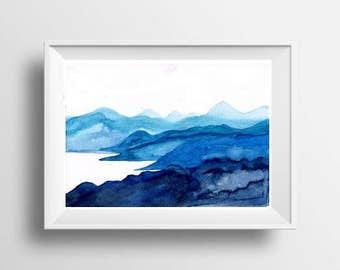 Mountain lake Sky Print landscape watercolor painting turquoise aqua blue white print water wall art nature poster decor mountain minimalist
