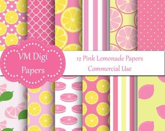 Pink Lemonade Digital Paper, Lemonade Background, Pink Digital Paper, Digital Paper, Lemon Digital, Pink Lemon Digital Paper, #7597