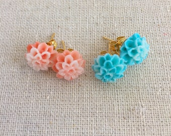 Dahlia Stud Earrings, Pink and Blue Floral Studs