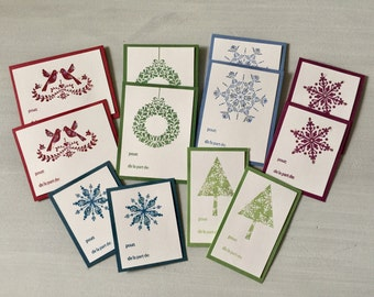 12 French français Self-Adhesive Christmas Gift Tags - Etiquettes Cadeaux Autocollantes de Noël - Snowflakes, Wreaths, Trees, Lovebirds