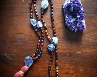 Power Prayer Mala Necklace with Carnelian and Amethyst crystal beads, sprinkled with Lapis Lazuli and Smokey Quartz. Raw Amethyst spacers.