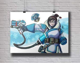 Overwatch Mei A4 Original Art Print