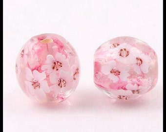 Pair Of Lampwork Focal Beads - Lampwork Glass Beads Handmade ~  ~ Floral Beads - 16 MM