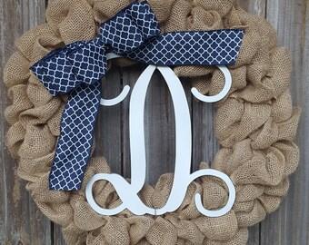 Burlap Monogram Wreath, Monogram Wreath, Wreath with Monogram, Navy Blue Wreath, Blue Wreath, Burlap Door Wreath, Front Door Wreath