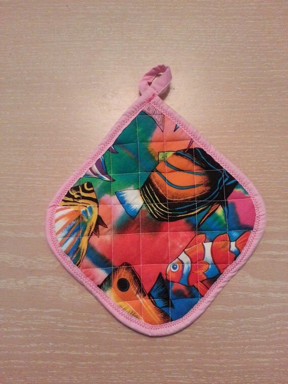 "Handmade "" Tropical Fish Print "" Potholder"