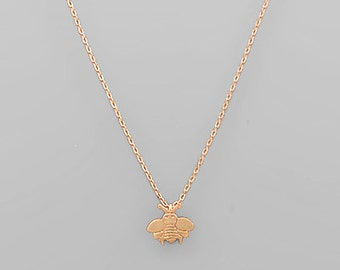 Rose Gold Bee Charm Necklace