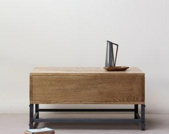 KONK! - Oak/Steel Industrial Storage Coffee Table [Bespoke sizes available!] Rustic, Farmhouse