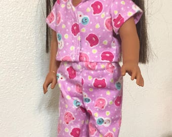 Pink flannel pajamas for 14 1/2 inch dolls such as Wellie Wishers. Doll pjs doll jammies