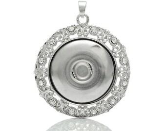 1PCs Gift DIY Charm Pendant Fit Snap Big Buttons Hollow Bow Rhinestone 5.5x4.5cm