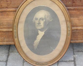 antique George Washigton black and white antique framed photo print. Antique black & white photo, George Washington photograph, wall decor!