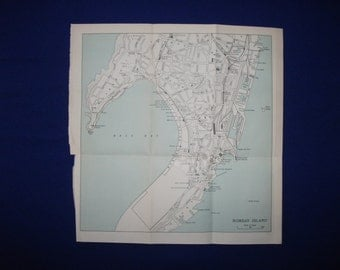 1950 map of bombay island  antique map   vintage wall decor.