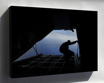 Canvas 24x36; Leap Frog On Ramp C-130 Hercules Aircraft Before Parachuting Out