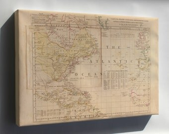 Canvas 24x36; Map Of Atlantic Ocean America West Indies 1768