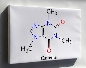 Canvas 24x36; Caffeine Molecule Diagram