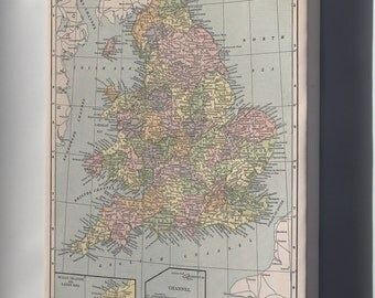 Canvas 16x24; Map Of England And Wales 1927