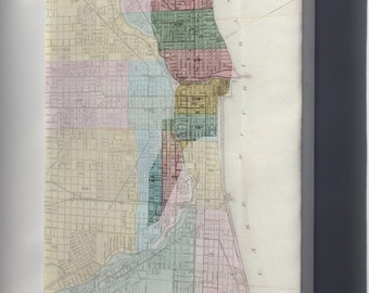Canvas 16x24; Great Chicago Fire Map With Starting Point
