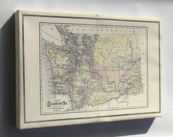 Canvas 16x24; Map Of Washington State Territory 1889