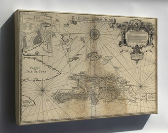 Canvas 16x24; Map Of Hispaniola Haiti Dominican Republic 1724