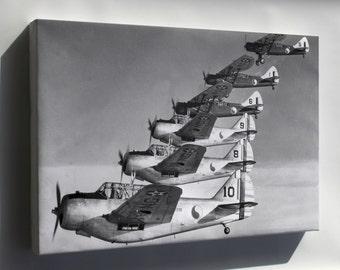 Canvas 16x24; Douglas O-46A, North American O-47 1940