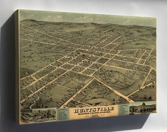 Canvas 16x24; Birdseye View Map Of Huntsville, Alabama 1871